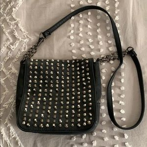 Faux Leather Black Studded Purse